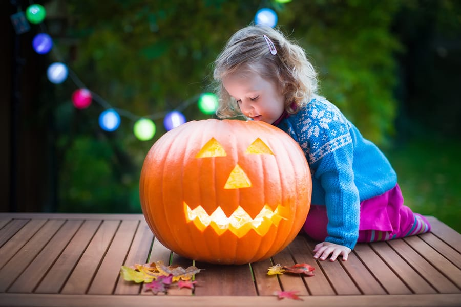 A little girl celebrating Halloween.