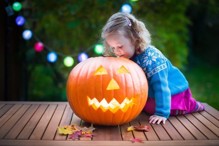 A little girl celebrating Halloween.